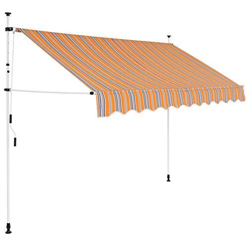 EBTOOLS- Toldo Articulado con Armazón, Toldo Retráctil Operación Manual Terraza Balcón Toldo Extensible 250 cm Amarillo Azul Rayas Resistente a UV Viento, para Jardín Terraza Exterior