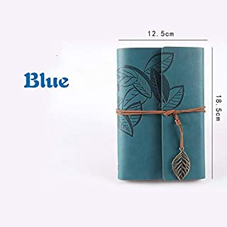 Durable Office Supplies, Retro Diary Book, Office Supplies, Leather, Jersh-school&office Supplies Daily Life School Diary Gift Office (Color : Blue)