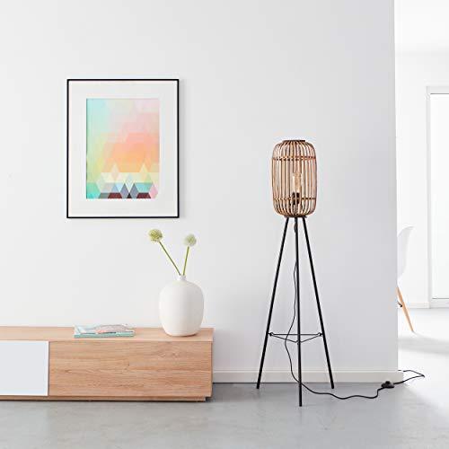 Lámpara de pie decorativa de 3 piezas, estilo natural, 1 bombilla E27 máx. 40 W, de metal/ratán en negro/marrón claro