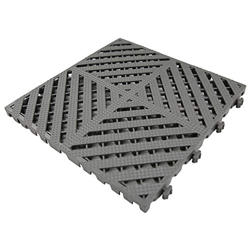 "RevTime Modular Interlocking Deck Tile 13""x13""x3/4"" Heavy Duty for Garage Flooring, Car Washing Facility, Deck Floor (Pack of 20), Gray"