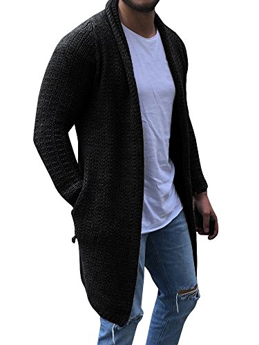 EastLife Mens Cardigan Sweaters Long Sleeve Cable Knit Open Front Cardigans with Pocket, Black, Medium