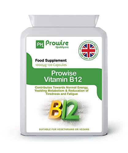 Vitamine B12 Methylcobalamine 1000 ug - 120 capsules - UK Gefabriceerd volgens GMP Gegarandeerde kwaliteit - Geschikt voor vegetariërs en veganisten door Prowise Healthcare