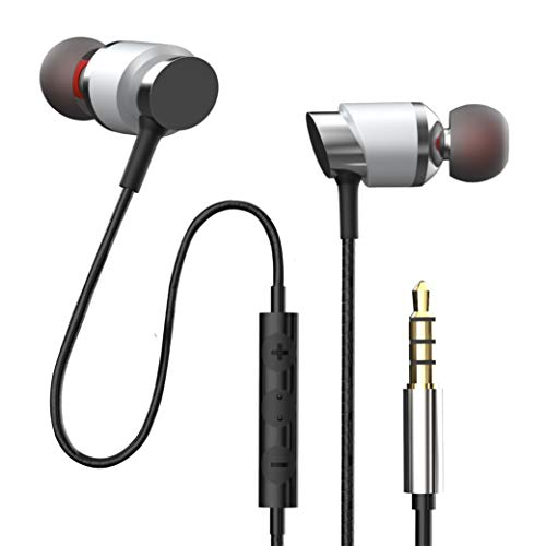Florid Bass Machine 786 in-Ear Wired Earphones with Mic and Volume Control | Extra Bass & HD Sound | 1.3 Meters Length & Gold Plated 3.5mm Universal Jack (Silver)