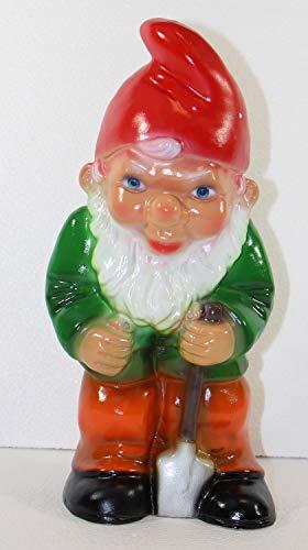 Gartenzwerg Deko Garten Figur Zwerg Gärtner stehend mit Spaten in der Hand aus Kunststoff H 30 cm
