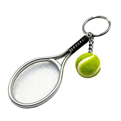 CUSROS Simulación Mini raqueta de tenis bola llavero colgante bolsa llavero llavero para amantes de los deportes plata talla única