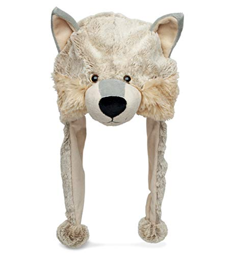 DolliBu Gray Wolf Plush Hat - Super Soft Warm Hat With Ear Flaps  Funny Plush Party Crazy Hat  Stuffed Animal Wolf Halloween Costume Toy Hat  Cozy Fleece Winter Hat For Kids & Teens - One Size