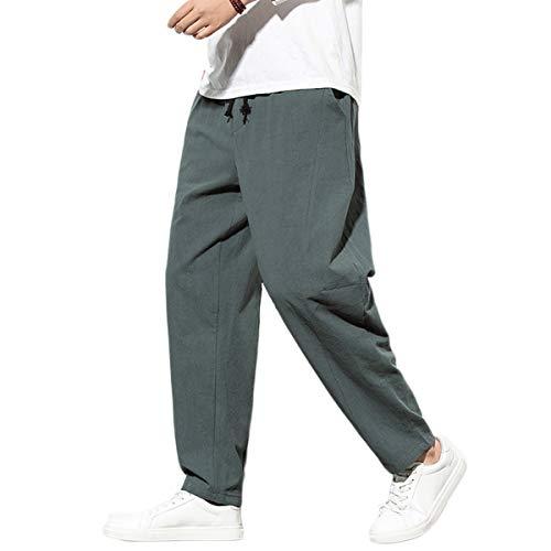 FTIMILD - Pantalones de lino para hombre con cintura elástica y cordón para yoga Gris gris 41-44.5