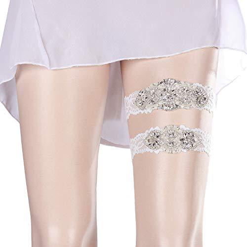 AWAYTR Wedding Bride Garter Set - White Lace for Bridal Accessories Rhinestone Garters (Silver, XL: 22-23 in)