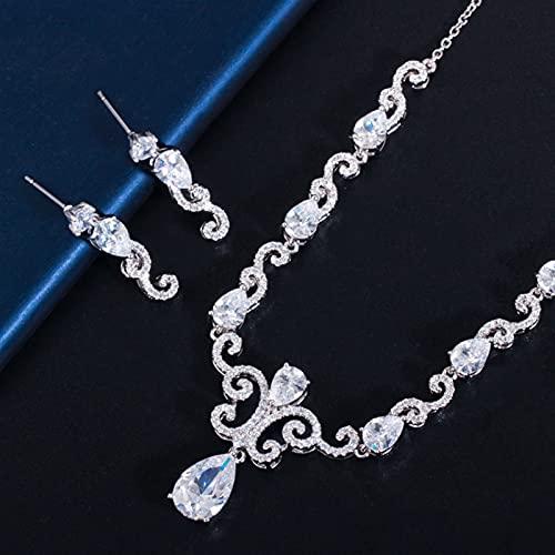 SYXMSM Juego de Joyas Azul Cúbico Zirconia Mujer Traje De Joyería Conjuntos De Boda De La Vendimia Pendiente del Collar De La Boda para La Dama De Honor joyería (Metal Color : Sparkling White)