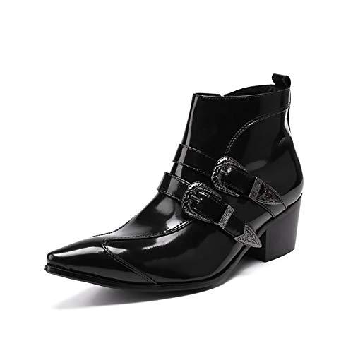 Story of life Hommes Bottines en Cuir Smart Casual Pointu Chaussures Montantes Hiver Bottillons Rétro Brevet Bottes d'homme en Cuir,Noir,41