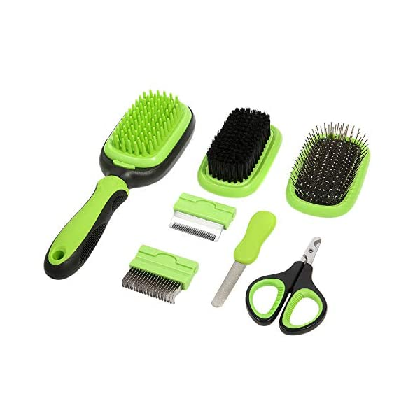 ZolooPet Dog Brush Cat Brush Pet Grooming Kit 7 in 1 Double Sided Pet Dematting Deshedding Comb Massage pin Brush with Pet Clipper and Diamond Nail File for Pet with Thick, Short, Medium, Long, Curly, and Wiry Hair