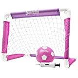 Franklin Sports Kids Soccer Goal with Ball and Pump – 24inch x 16inch Folding Goal – Great for Backyard or Indoor Play – Pink/Purple