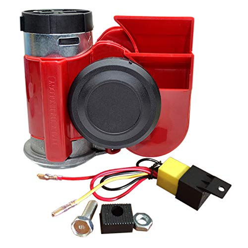 SoundOriginal 12Volt Loud Car Air Horn Big Truck Horn 125db with Automotive Relay Electric Horn for Truck Car Motorcycle (Red)