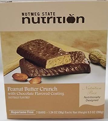 Nutmeg State Nutrition High Protein Snack Bar/Diet Bars - Peanut Butter Crunch (7ct) - Trans Fat Free, Aspartame Free, Kosher, Gelatin Free