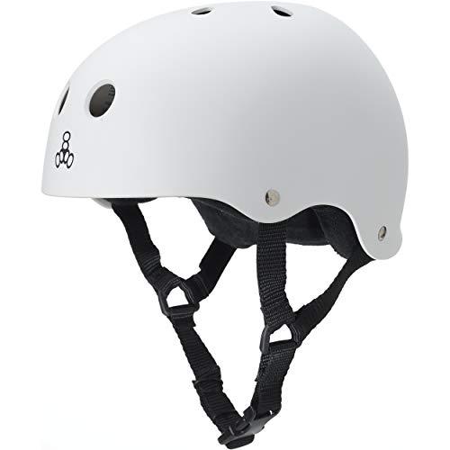 Triple Eight Sweatsaver Liner Skateboarding Helmet, White Rubber, Large