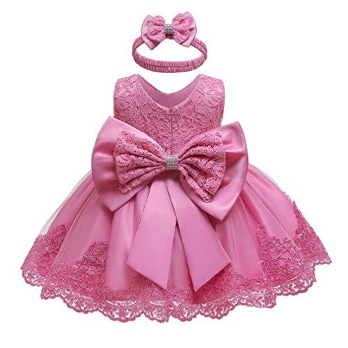 Gaga city Neu Geboren Baby Mädchen Prinzessin Kleid mit Bowknot Blumenmädchenkleid Taufkleid Festlich Kleid Hochzeit Partykleid Festzug Babybekleidung Rose/12M
