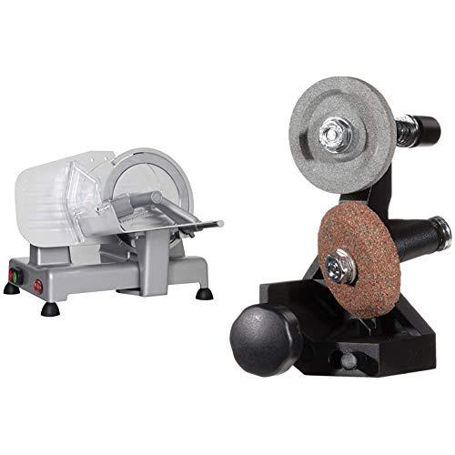 Rgv luxor 20 affettatrice, 110 w, diametro 20 cm, alluminio, colore argento & 9168 affilatoio amovibile