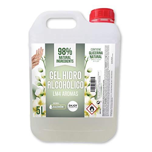 Gel hidroalcohólico de 5000 ml con 70% alcohol y con glicerina NATURAL para el cuidado de la piel. 98% ingredientes Naturales. NUEVOS AROMAS (JAZMIN)