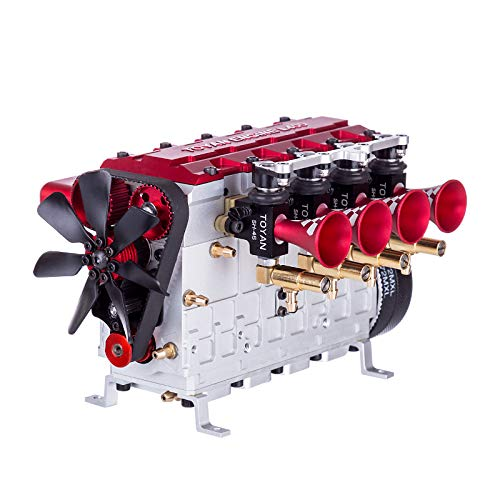 Yamix TOYAN Unassembled FS-L400 Nitro Engine Model, 14cc Inline Four-Cylinder Four-Stroke Water-Cooled Nitro Engine for 1:8 1:10 1:12 1:14 RC Model Car Ship Airplane