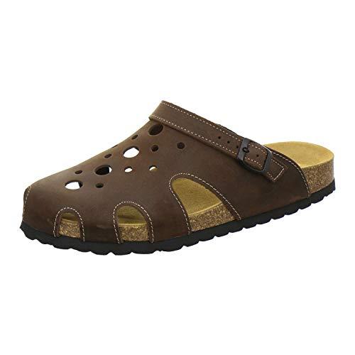 AFS-Schuhe 3093 Clogs Herren aus Leder, Bequeme Hausschuhe geschlossen, praktische Arbeits-Pantoffeln, modische Schlappen für zu Hause, Made in Germany (43 EU, Mocca)