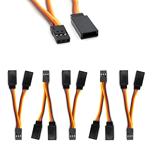 5 Pcs JR/Futaba Style Servo 1 to 2 Y Harness Leads Splitter Cable Male to Female Extension Lead Wire for RC Models Airplane 7cm