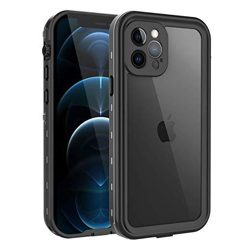 Compatible con iPhone 12 Pro, iPhone 12 Pro funda impermeable 5G con protector de pantalla integrado, cubierta transparente resistente a los golpes, (negro)