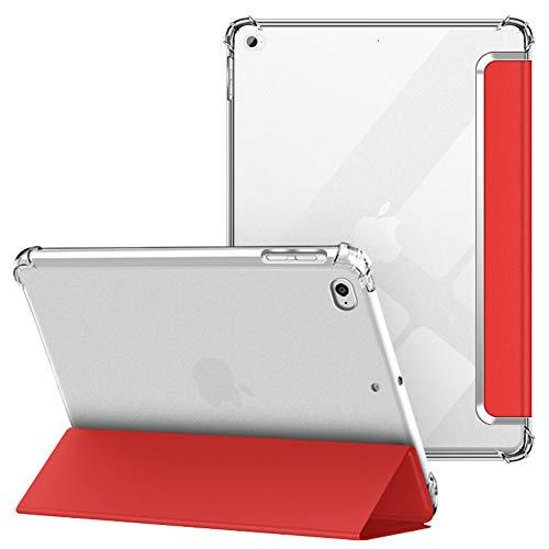 VAGHVEO Custodia per iPad 2018 2017 9.7 / iPad Air 1 2 Cover, Protettiva Flessibile Trasparente TPU Cover Posteriore, Supporto Smart Case Tre-Pieghe Sottile e Leggera Antiurto Resistente Urti, Rosso