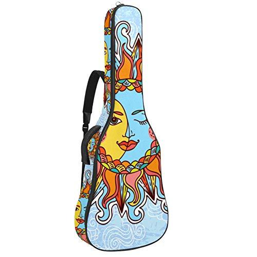 Bolsa para guitarra eléctrica, impermeable, con cremallera, suave, para bajo, acústica y clásica, diseño de sol y luna mágica