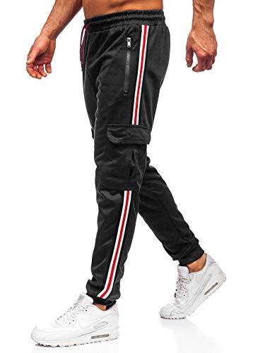 BOLF Herren Sporthose Trainingshose Jogginghose Fitnesshose Joggerhose Freizeithose Sport Style J.Style JZ11009 Schwarz L [6F6]