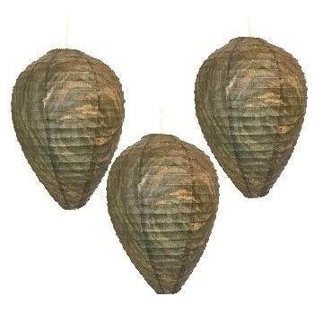 Patio Eden by Maad Brands - Wasp Nest Decoy - 3 Pack- Eco Friendly Hanging Wasp Repellent