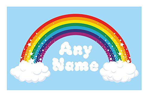 personnalisé Rainbow Art mural. choisir n'importe quel nom Autocollant vinyle 3 tailles, couleurs complète Autocollant, Small: 30cm x 16cm