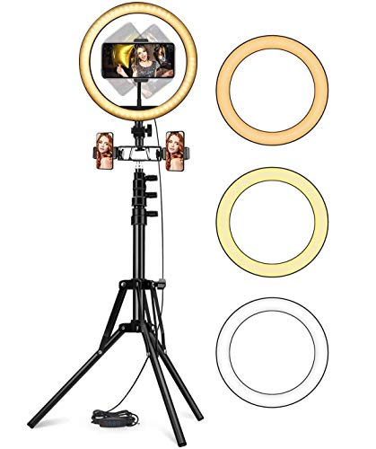 10'' Anillo de luz LED,Alto y Extensible de 160 cm, 180 Bombillas LED, 3 Modos 10 Brillos Regulables,Trípode Ajustable y Soporte para...