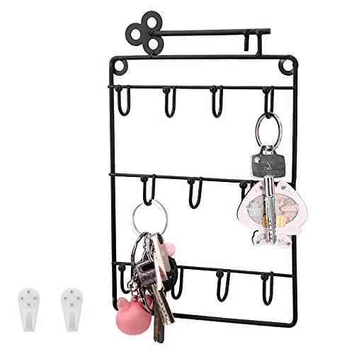 Cuelga Llaves Pared Colgador 11 Ganchos Guardallaves Decorativo Ganchos de Metal colgador para llaves de pared para Dormitorio, Entrada, Baño, Negro