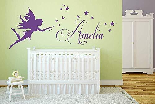 Nombre personalizado, Hada, Luna, Estrellas, Vinilo decorativo de pared, Mural, Calcomanía. Hogar, Decoración de pared, Dormitorio infantil, Guardería.
