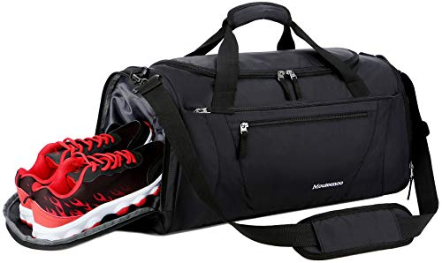 Mouteenoo Gym Bag 40L Sports Travel Duffel Bag for Men and Women with Shoes Compartment (One_Size, Black)