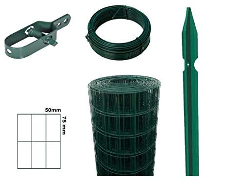 RETE PER RECINZIONE PLASTIFICATA COMPLETA 25 mt KIT RETE,PALI,FILI e accessori (Rete 175cm + Pali 200cm)