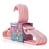 Hangerworld 80 Perchas 29cm para Niños y Bebés Plástico Rosa con Barra y Muescas Pantalón Vestidos