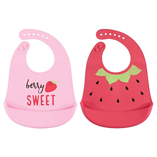 Hudson Baby Unisex Baby Silicone Bibs, Strawberry, One Size