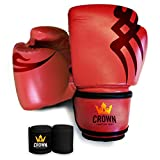 Crown Boxing Pro Style Boxing Gloves Fighting Boxing Gloves Martial Arts Training Equipment, Sparring Gloves, Kickboxing Gloves MMA Training Equipment for Men and Women - with Hand Wraps (Red, 14)