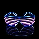 KingCorey Glow Shutter Neon Rave Glasses El Wire Flashing Gafas de Sol LED Light Up Disfraces de DJ para Fiesta, 80, EDM (Azul+Rosa)