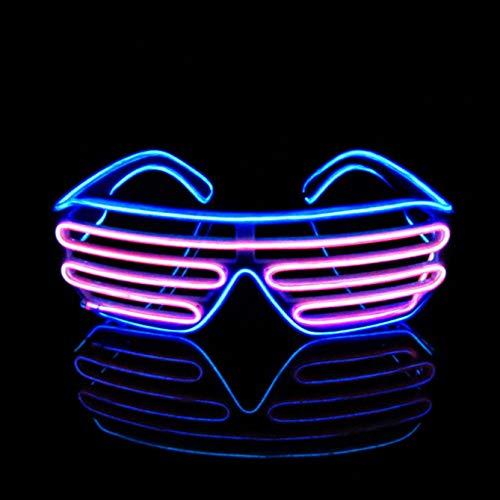 KingCorey Glow Shutter Neon Rave Brille EL Wire blinkende LED Sonnenbrillen leuchten DJ Kostüme für Party, 80er Jahre, EDM (Blau+Rosa)