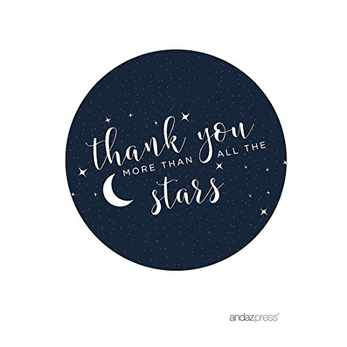 Andaz Press Love You to The Moon and Back Wedding Collection, Round Circle Label Stickers, Thank You More Than All The Stars, 40-Pack, Space Galaxy Themed Baby Shower Party
