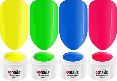 99nails Lot de 4 gels UV de couleur fluo (4 x 5 ml) - Fabriqués en Allemagne