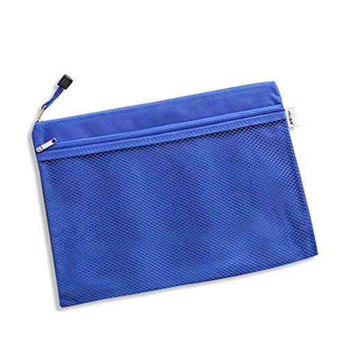 ファイルケース クリアケース カードケース ファイル袋 ペン入れファスナー式 撥水 持ち運びに便利 A4 網目 ファスナ 付き (ブルー2)