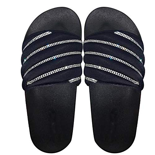 Acutty Women's Casual Glitter Sandals, Shiny Embellished Slip On Sandals Slipper Flip Flops Flat Shoes Summer Beach Comfy Platform Sandal Shoes Summer Beach Travel Shoes Sandal Ladies Flip Flops