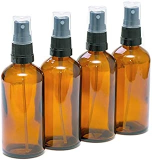 PACK of 4 Amber Glass Bottles with Black Atomiser Sprays for Essential Oil Aromatherapy Use 100ml
