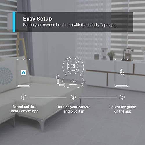 TP-Link Smart Cam Pan Tilt Home WiFi Camera | Wireless Indoor Security 360° 2MP 1080p (Full HD) | Up to 30 ft Night Vision | Up to 128 GB microSD Card Slot | Works with Alexa and Google (Tapo C200)