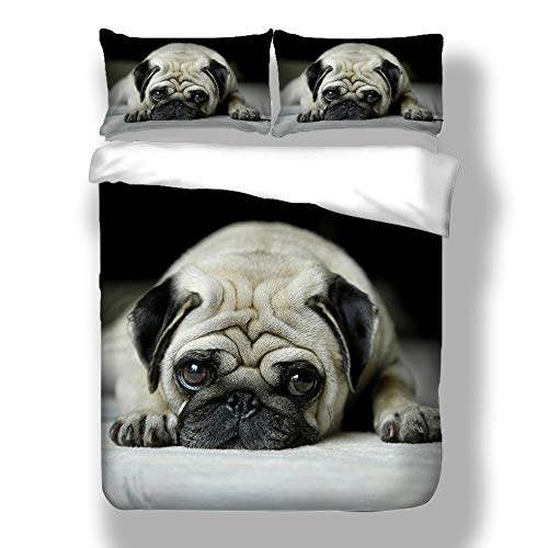 Erosebridal 3D Animal Theme Bedding Set Full Size Black Dog Duvet Cover Set Cute Pug Dog Printed Comforter Cover for Kids Teen Boys Bedspread Cover Dog Pattern Quilt Cover Soft Lightweight