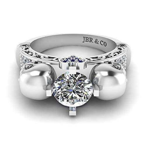 Jbr - Anillo de boda con diseño de calavera de plata de ley 925 con diseño de calavera de corte redondo y diamantes de promesa de aniversario, regalo romántico