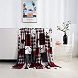 Elegant Comfort Velvet Touch Ultra Plush Christmas Holiday Printed Fleece Throw/Blanket-50 x 60inch, (Patch), Patchwork
